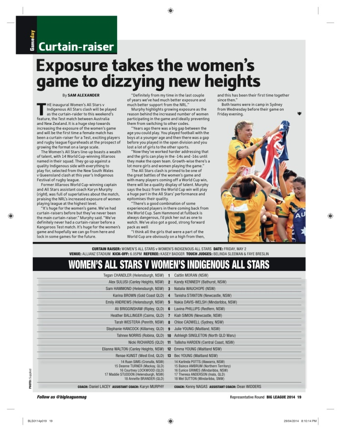 Link to PDF - https://sjalexander45.files.wordpress.com/2014/06/big-league-jillaroos.pdf Published May 1 -7 ed. 2014