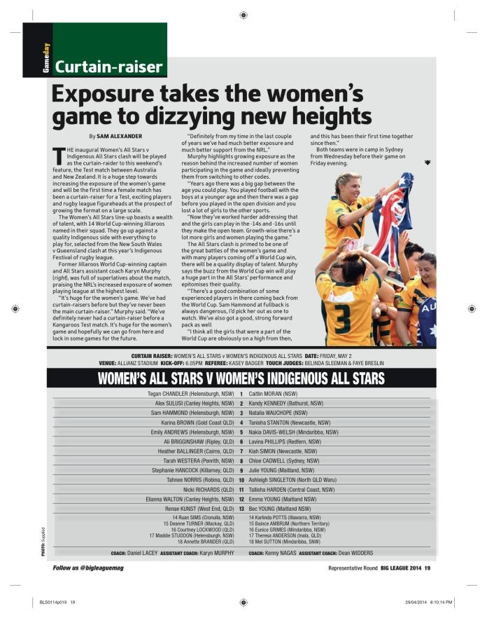 Link to PDF - https://sjalexander45.files.wordpress.com/2014/06/big-league-jillaroos.pdf Published May 1 -7 ed. 2014